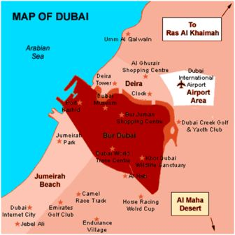 Detailed Map of Dubai